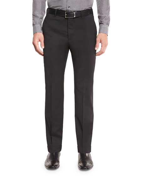 Armani Collezioni Stretch-Cotton Flat-Front Trousers, Black