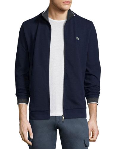Semi-Fancy Piqué Front-Zip Sweater, Waterfall Blue/Navy
