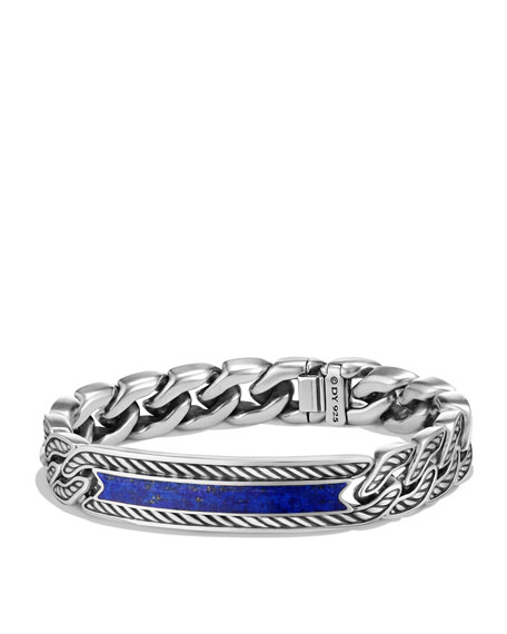 David Yurman Maritime Men's Curb-Link ID Bracelet, Lapis
