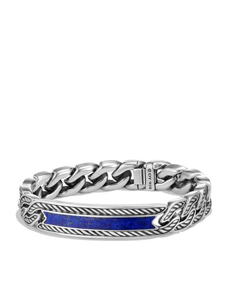 Maritime Men's Curb-Link ID Bracelet, Lapis