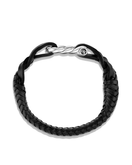 Men's Maritime Sterling Silver Woven Leather Bracelet
