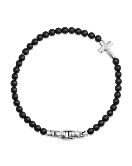 David Yurman Men's Cross Station Bead Bracelet in Black Onyx