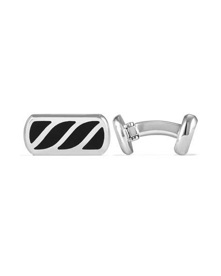 David Yurman Men's Sterling Silver & Onyx Cable Cuff Links