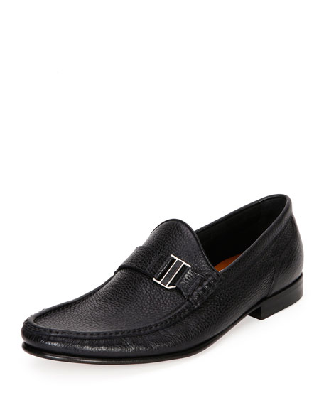 Bally Suver Leather Moc-Toe Loafer, Black