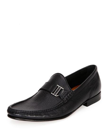 Suver Leather Moc-Toe Loafer, Black
