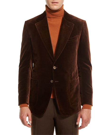 TOM FORD Shelton Base Velvet Sport Jacket, Brown
