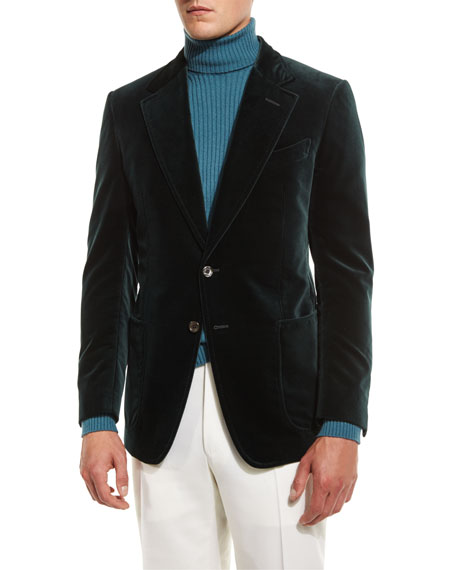 TOM FORD Shelton Base Velvet Sport Jacket, Teal