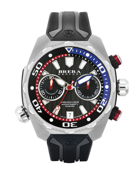 Brera 47mm ProDiver Chronograph Watch with Rubber Strap, Black/Silver