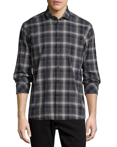 Plaid Long-Sleeve Oxford Shirt