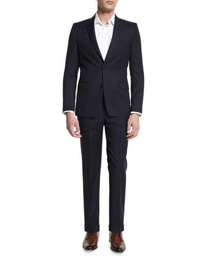 Solid Two-Piece Wool Suit, Navy