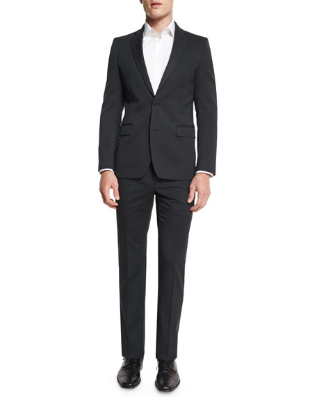 Versace Pinstripe Two-Piece Wool Suit, Charcoal