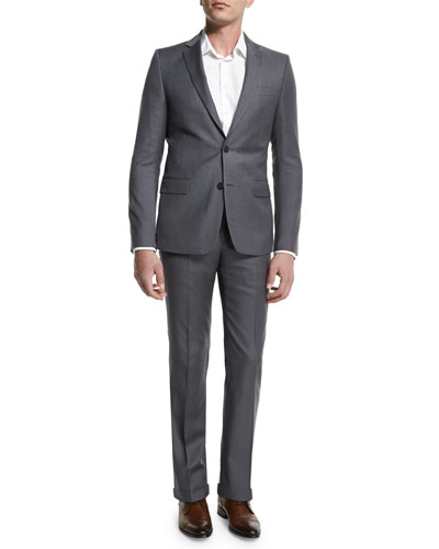 Pinstripe Two-Piece Suit, Light Gray