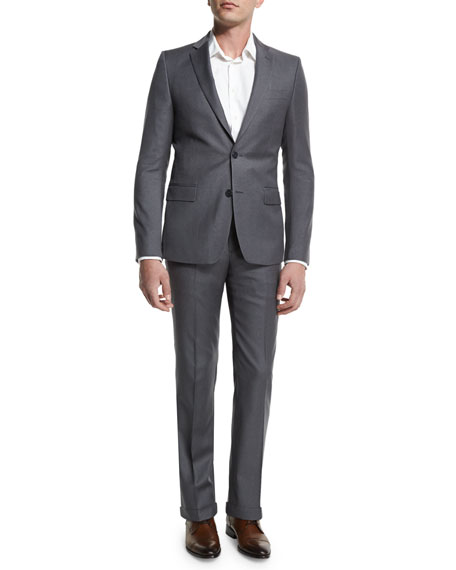 Versace Pinstripe Two-Piece Suit, Light Gray