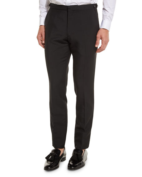 Burberry Wool-Mohair Tuxedo Trousers, Black