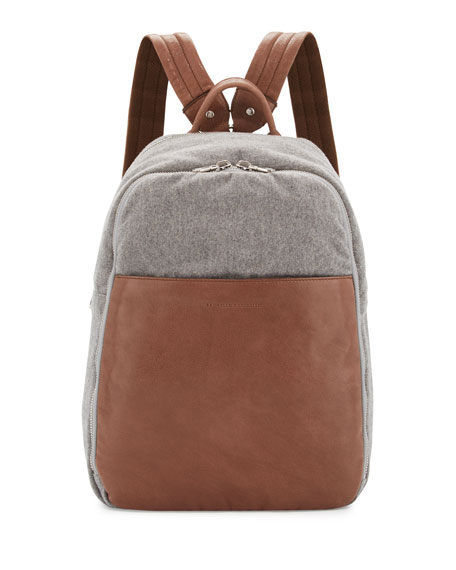 Brunello Cucinelli Men's Leather & Wool-Cashmere Tech Backpack,