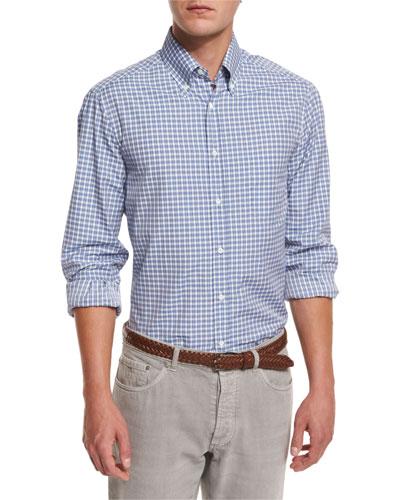 Basic-Fit Check Sport Shirt, Blue