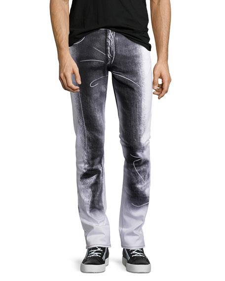 Moschino Trompe l'Oeil Stretch-Gabardine Straight-Leg Denim Jeans