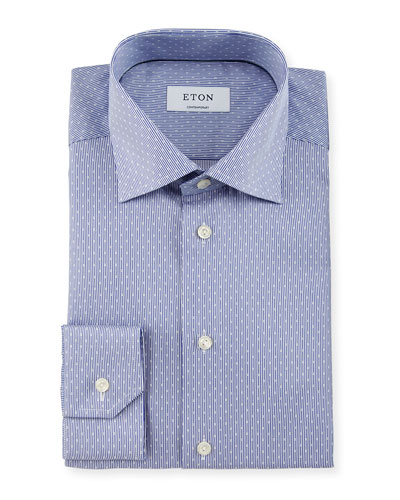 Contemporary-Fit Rope-Striped Dobby Dress Shirt, Navy