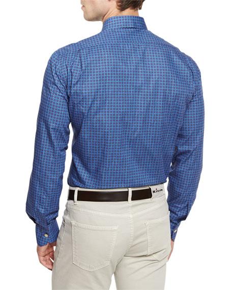 Circle-Print Woven Sport Shirt, Blue/Brown