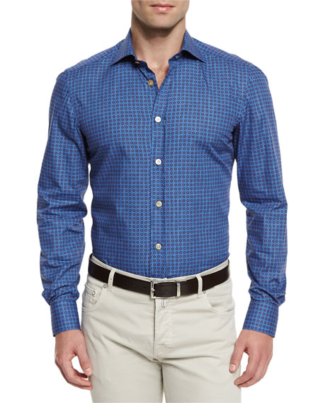 Kiton Circle-Print Woven Sport Shirt, Blue/Brown