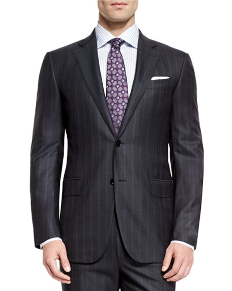 Charcoal Milano Easy Checked Wool Suit - CharcoalErmenegildo Zegna