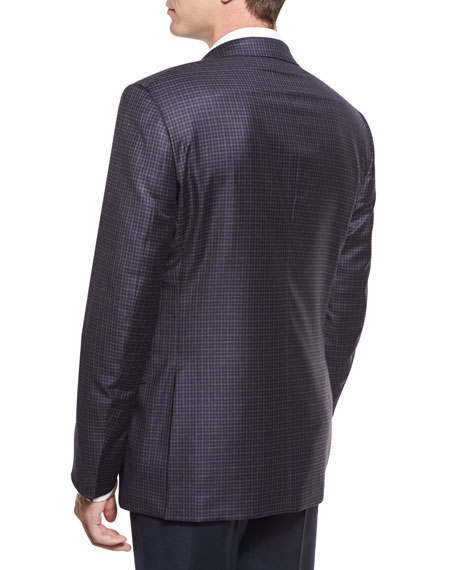 Check Two-Button Sport Coat, Blue/Gray