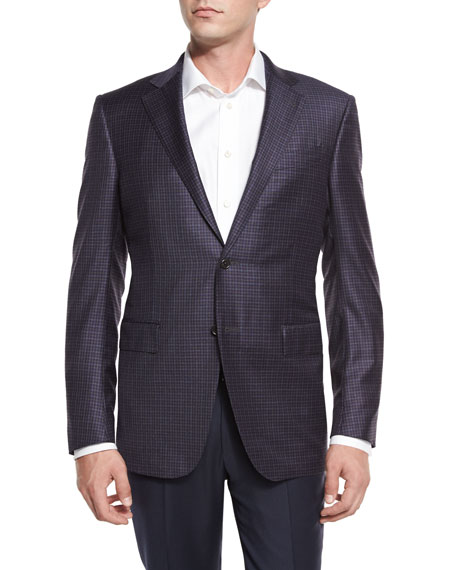 Ermenegildo Zegna Check Two-Button Sport Coat, Blue/Gray