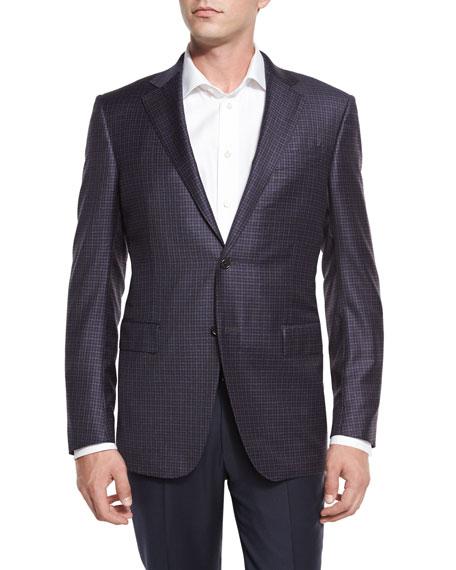 Check Two-Button Sport Coat, Blue/Gray