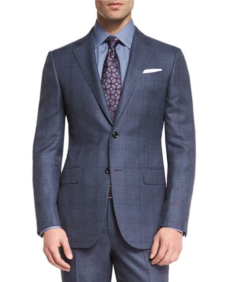 Trofeo 600 Plaid Two-Piece Suit, Blue