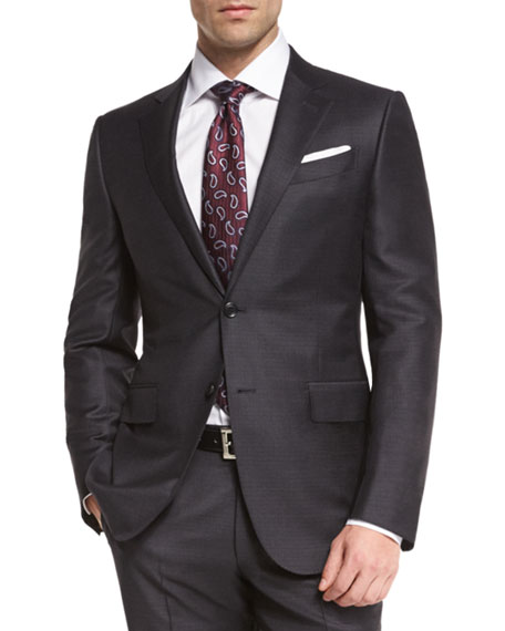 Trofeo Wool Tonal-Check Two-Piece Suit, Charcoal