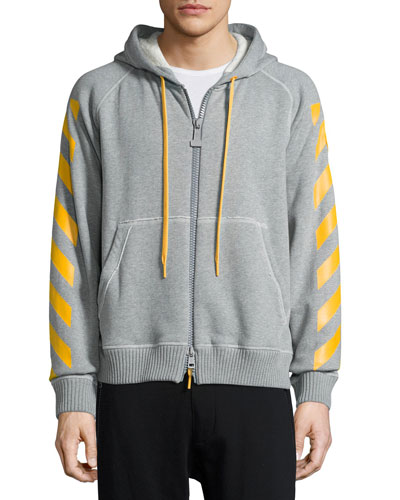 Striped Zip-Front Hoodie, Gray