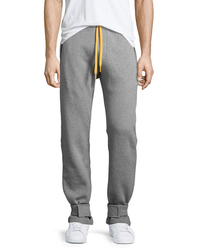 Cotton Sweatpants w/Yellow Accents, Gray