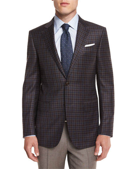Ermenegildo Zegna Check Wool Sport Coat, Brown