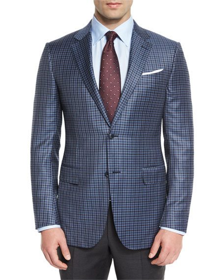 Check Two-Button Sport Coat, Gray