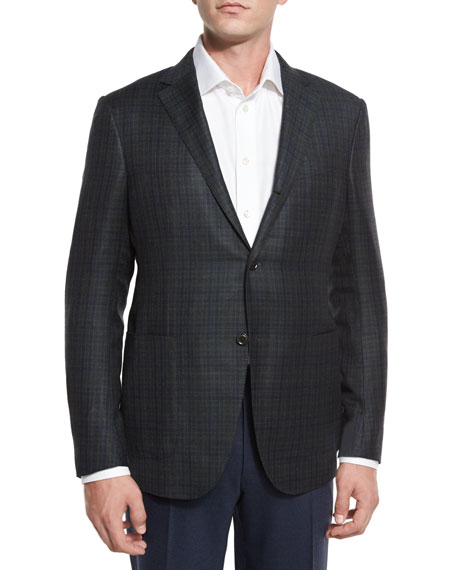 Plaid Two-Button Sport Coat, Olive/Navy