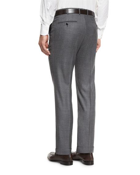 Sharkskin Trofeo Wool Flat-Front Trousers, Light Gray