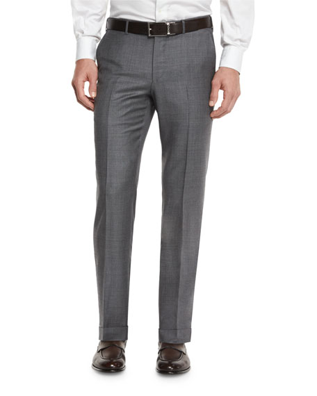 Sharkskin Trofeo Wool Flat-Front Trousers, Light Gray
