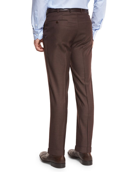Ermenegildo Zegna Twill Trofeo Wool Flat-Front Trousers, Tobacco