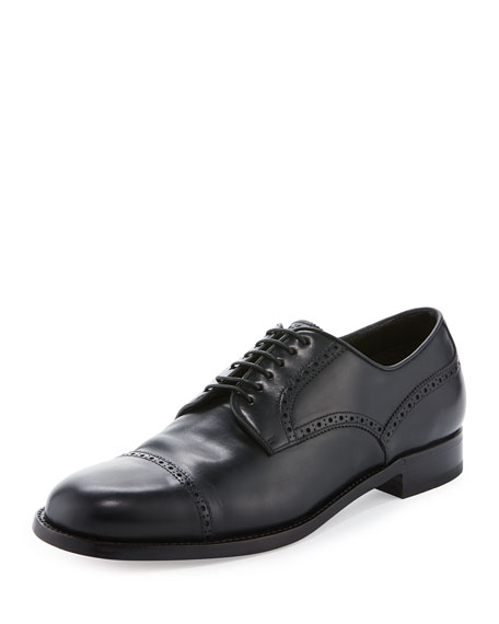 Brioni Leather Lace-Up Oxford Shoe, Blue