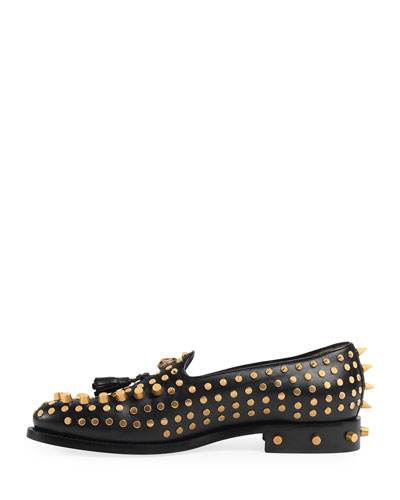 Sagan Studded Leather Loafer, Black