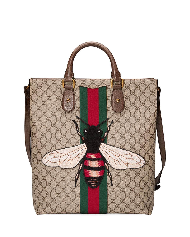 fa68c9e22588 Gucci Men's Bee-Embroidered GG Supreme Canvas Tote Bag, Tan | Neiman ...