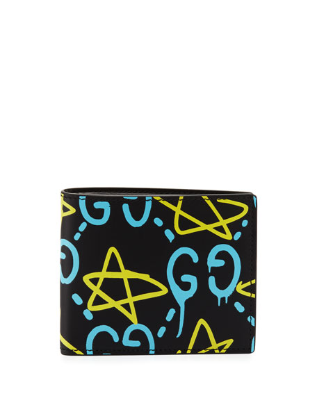 GucciGhost Leather Wallet, Black