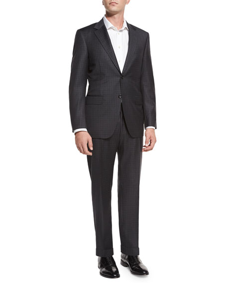 Canali Tonal Check Super 130s Wool Two-Piece Suit,