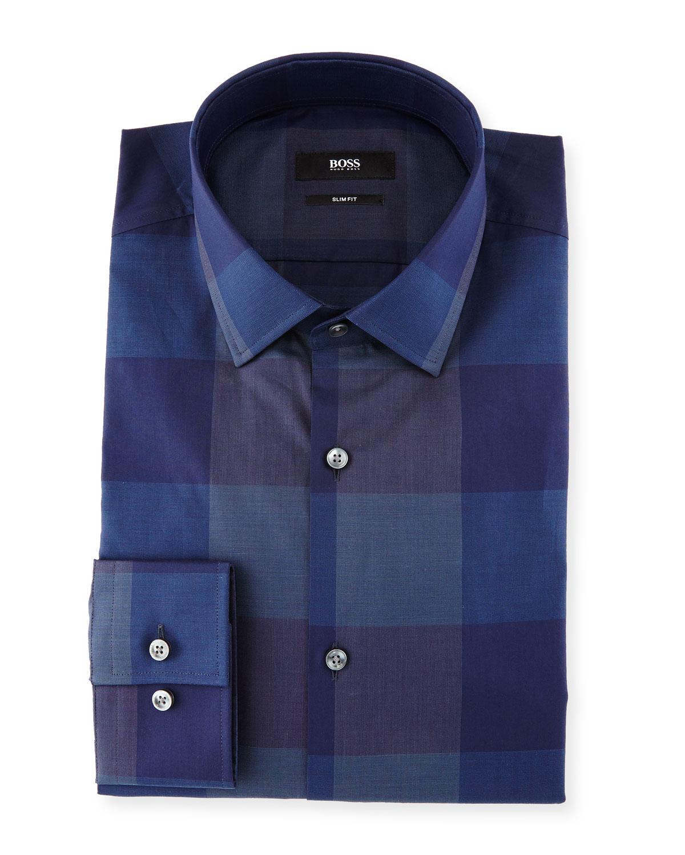 1bcd8d78 BOSS Jenno Large-Check Slim-Fit Dress Shirt, Navy | Neiman Marcus