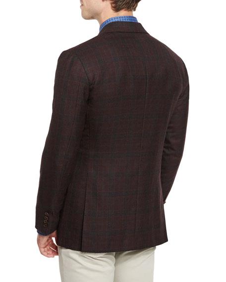Plaid Cashmere Sport Coat, Burgundy
