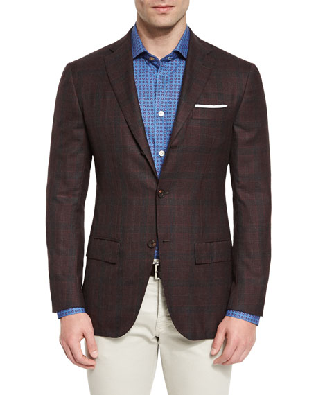 Plaid Cashmere Sport Coat, Burgundy