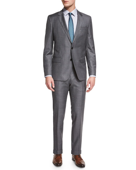 Huge Genius Slim-Fit Basic Sharkskin Suit, Gray/Teal