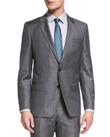 BOSS Huge Genius Slim-Fit Basic Sharkskin Suit, Gray/Teal