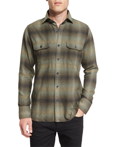 TOM FORD Exploded Plaid Flannel Sport Shirt, Olive