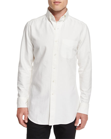 TOM FORD Tailored-Fit Washed Oxford Dress Shirt, White